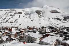 Panorama of the Hotels and Hils, Les Deux Alpes, France, French Royalty Free Stock Photography