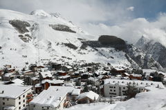 Panorama of the Hotels and Hils, Les Deux Alpes, France, French Stock Photography