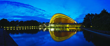 Panorama house of world cultures berlin. Beautiful panorama landscape with house of world cultures (haus der kulturen der welt) in berlin with reflection in Stock Photo