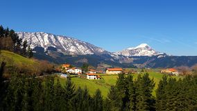 Panorama of houses in Aramaio. In winter royalty free stock images
