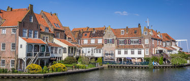 Panorama of houses around the harbor in Enkhuizen Stock Images