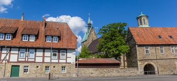 Panorama of houses and church tower in Stadthagen Stock Photo