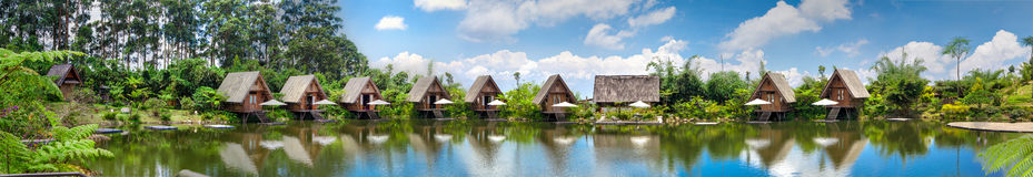 Panorama Houses in lake with blue sky in daylight HDR Royalty Free Stock Photography