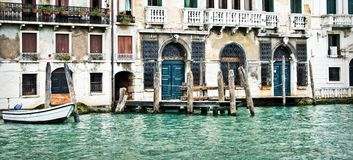 Panorama of houses and palaces on the grand canal in Venice Italy Stock Photography
