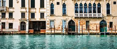 Panorama of houses and palaces on the grand canal in Venice Italy. Panorama of houses and palaces on the grand canal in Venice, Italy Stock Photos