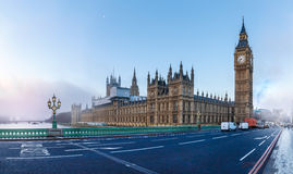 Panorama of Houses of Parliament in winter morning Stock Photos
