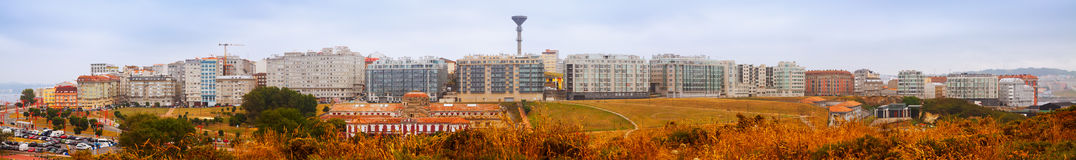 Panorama of houses at seaside.  A Coruna Stock Photos