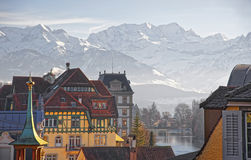 Panorama of Houses in Thun and the Alps and Thunersee Stock Photo