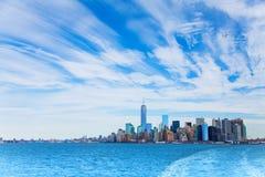 Panorama of Hudson and Manhattan skyscrapers Stock Image