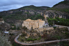 Panorama of the Huecar gorge and Cuenca old town, in Spain Royalty Free Stock Photography