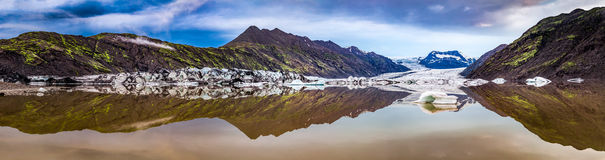 Panorama of huge glacier and lake at sunrise in Iceland Royalty Free Stock Images