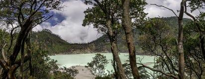 Panorama of huge green watered lake Stock Image