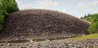 Panorama of a Huge Stone Wall Stock Image