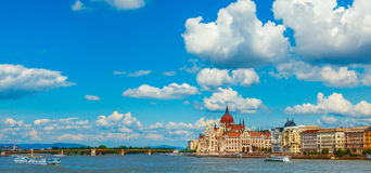Panorama with Hungarian parliament in Budapest Royalty Free Stock Image