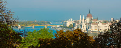 Panorama with Hungarian Parliament building and Danube river at sunset, Budapest, Hungary Stock Photo