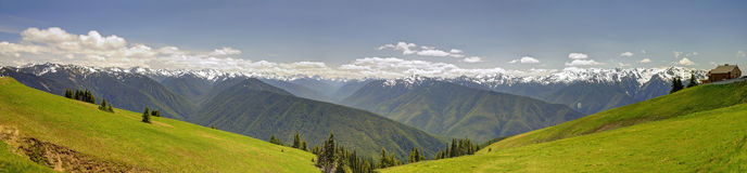 Panorama of Hurricane Ridge mountain landscape, meadow, Olympic National Park Stock Photos