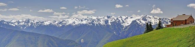 Panorama of Hurricane Ridge mountain landscape, meadows Royalty Free Stock Photo