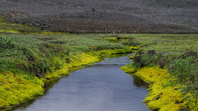 Panorama Huseyjarkvisl river valley near Middle of Nowhere in Iceland royalty free stock photos