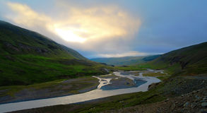 Panorama of Huseyjarkvisl river valley at sunset, Iceland royalty free stock photography