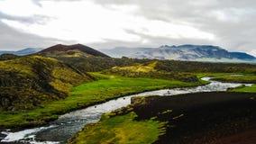 Panorama of Huseyjarkvisl source river valley at sunset ,Iceland Stock Photo