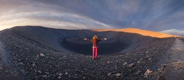 Panorama of Hverfjall volcano in northern Iceland east of Myvatn royalty free stock image