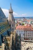 Panorama i dach Stephansdom w Wiedeń, Austria obraz stock