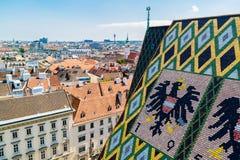 Panorama i dach Stephansdom w Wiedeń, Austria zdjęcia royalty free