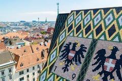 Panorama i dach Stephansdom w Wiedeń, Austria zdjęcie royalty free