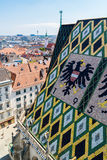 Panorama i dach Stephansdom w Wiedeń, Austria fotografia stock