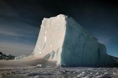 Panorama on icebergs and ice on the water in front of him, terrain and scenery Antarctic stock photo