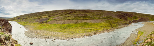 Panorama of icelandic landscape with a river Stock Image