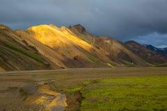 Panorama of Icelandic mountains Royalty Free Stock Photography