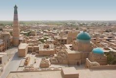 Panorama Ichan-Kala och minaretislam-Hodge Arkivbilder