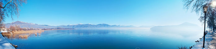 Panorama of icy lake Stock Images
