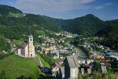 Panorama Idrija miasteczko, Slovenia Obrazy Royalty Free