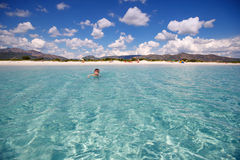 Panorama of idyllic beach with turquoise water Royalty Free Stock Images