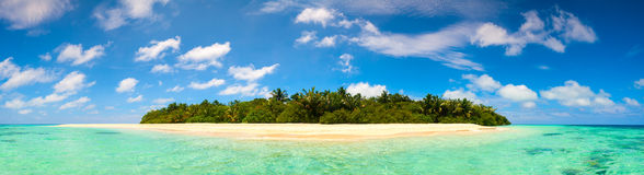Panorama of idyllic island turquoise ocean water  horizontal background Royalty Free Stock Photo