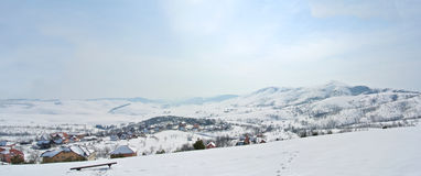 Panorama of idyllic snowy winter landscape in the mountains Royalty Free Stock Photo