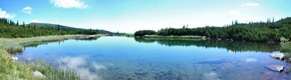 Panorama at the Iezer-lake royalty free stock image