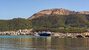 Panorama of the Igoumenitsa port in Greece. Thesprotia. Panorama of the Igoumenitsa port in Greece Royalty Free Stock Photos