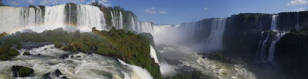 Panorama from Iguazu Falls with a rainbow royalty free stock image