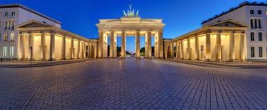 Panorama of the illuminated Brandenburg Gate in Berlin