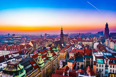 Panorama illuminated old town of Wroclaw at night. Stock Photo