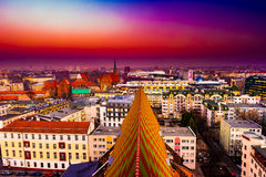 Panorama illuminated old town of Wroclaw at night. Stock Images
