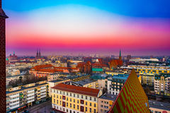 Panorama illuminated old town of Wroclaw at night. Royalty Free Stock Photography