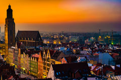 Panorama illuminated old town of Wroclaw at night. Stock Photography