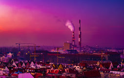 Panorama illuminated old town of Wroclaw at night. Royalty Free Stock Photos