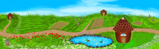 Panorama illustration of a summer landscape. Fields, flowers, beehives, lake, ducks, houses and more on this beautiful summer illustration. Digital art style Royalty Free Stock Photo