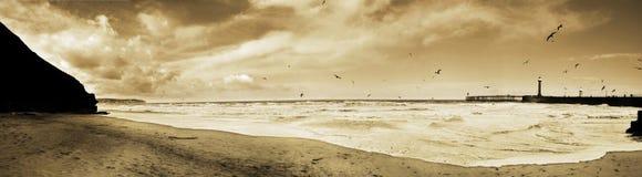 Panorama im Sepia des Whitby Strandes lizenzfreie stockfotos