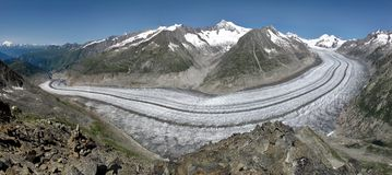 Panorama image of the Aletsch Glacier Stock Photo